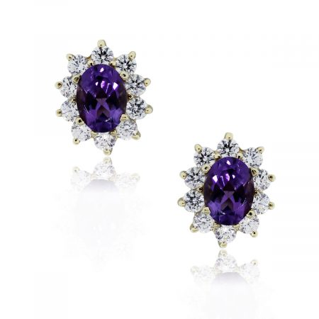 Yellow Gold Oval Amethyst Stud Earrings