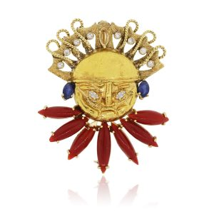 Yellow Gold inca brooch