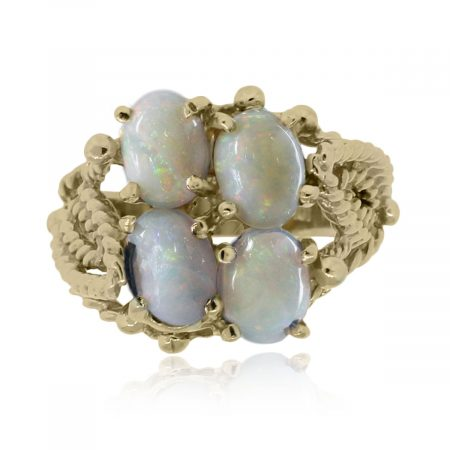 Yellow Gold Oval Cabochon Opal Ring