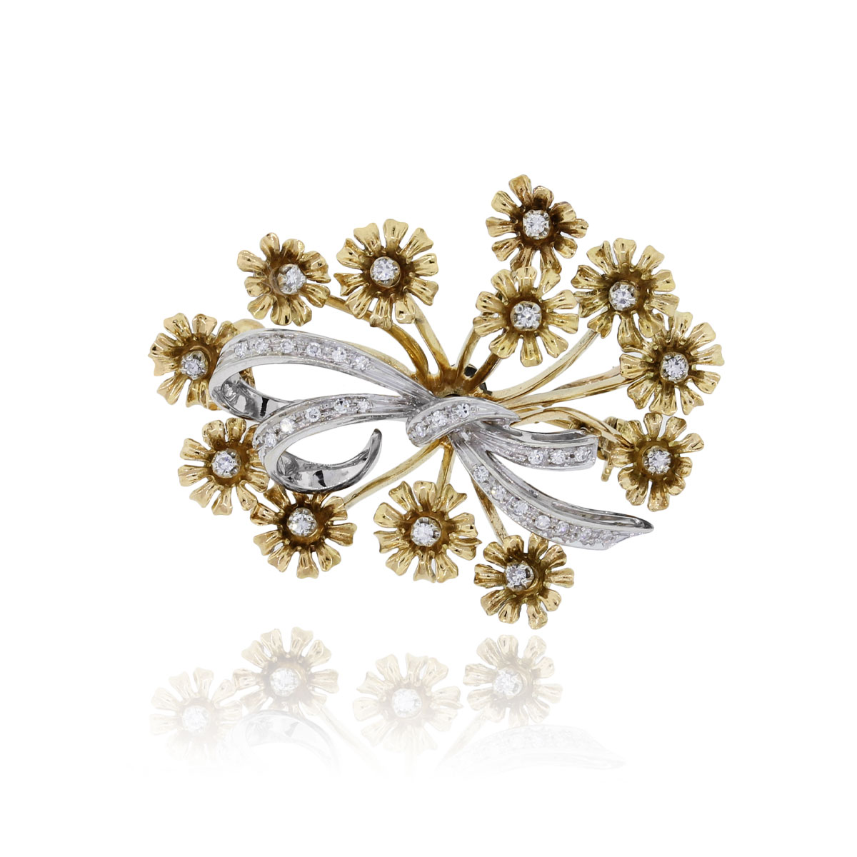 two tone gold floral brooch