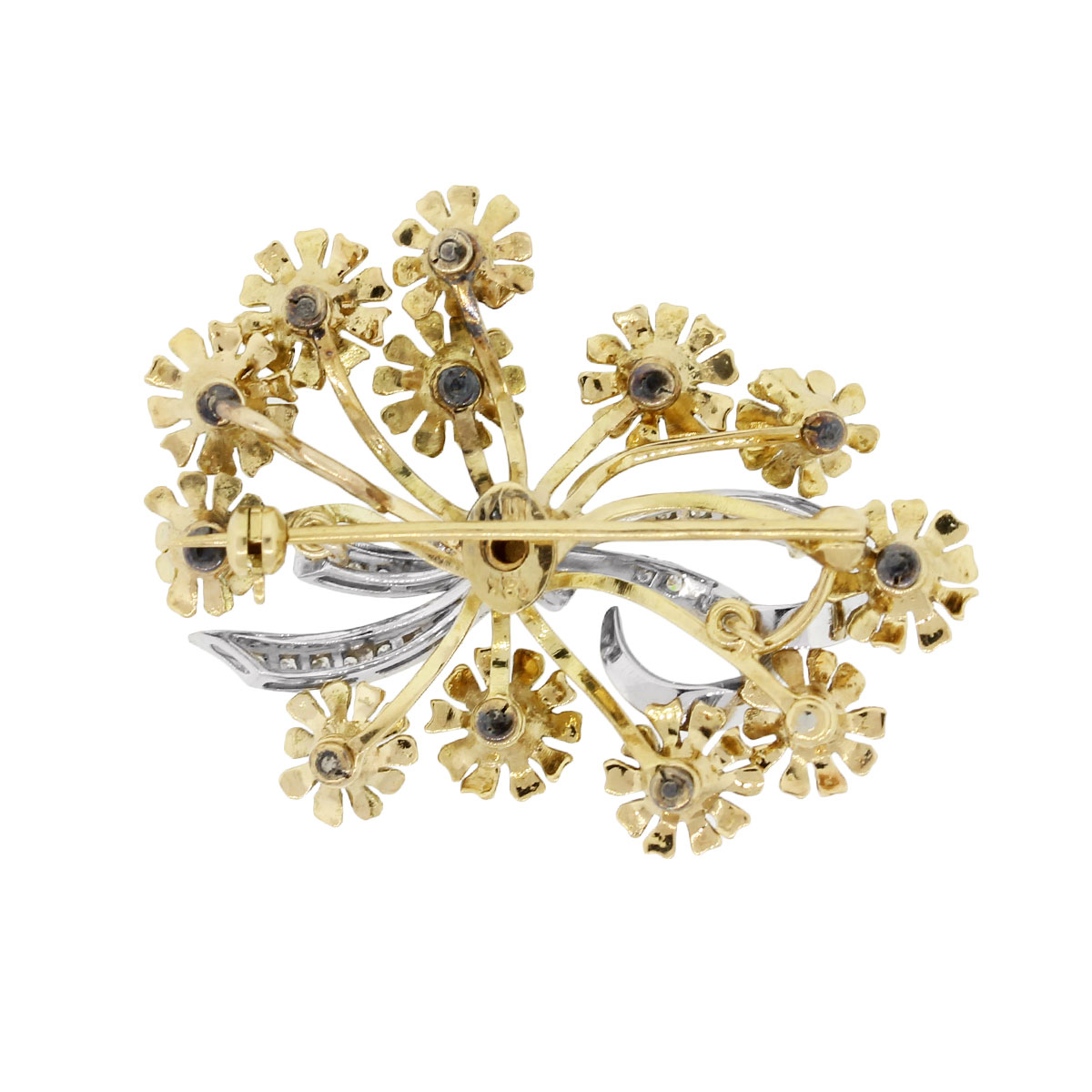 yellow gold floral diamond brooch