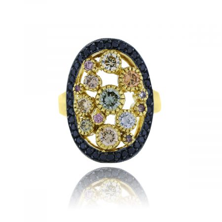18k Yellow Gold Natural Colored Diamond Ring