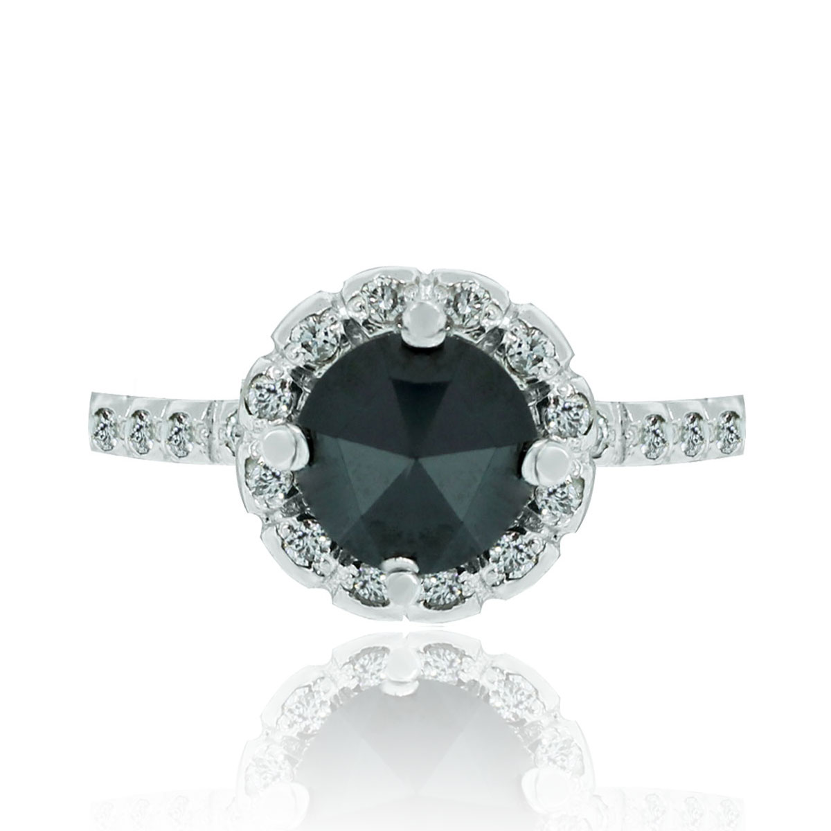 14k White Gold 1 16ct Black Diamond Halo Engagement Ring