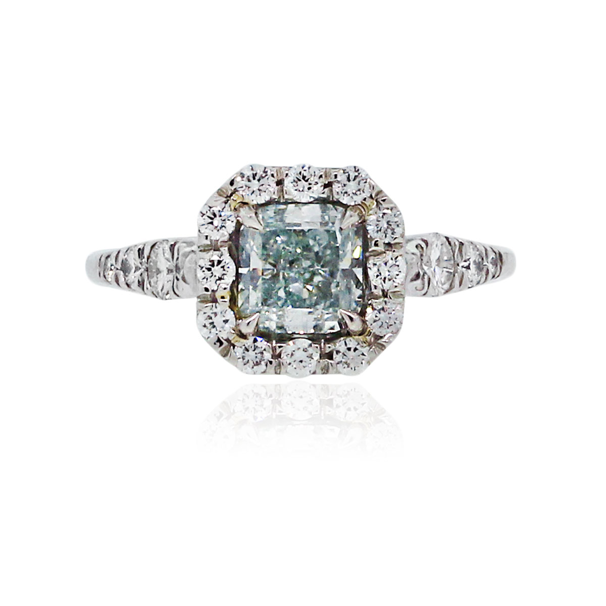 Platinum Gia Certified 1 20ct Natural Fancy Blue Green