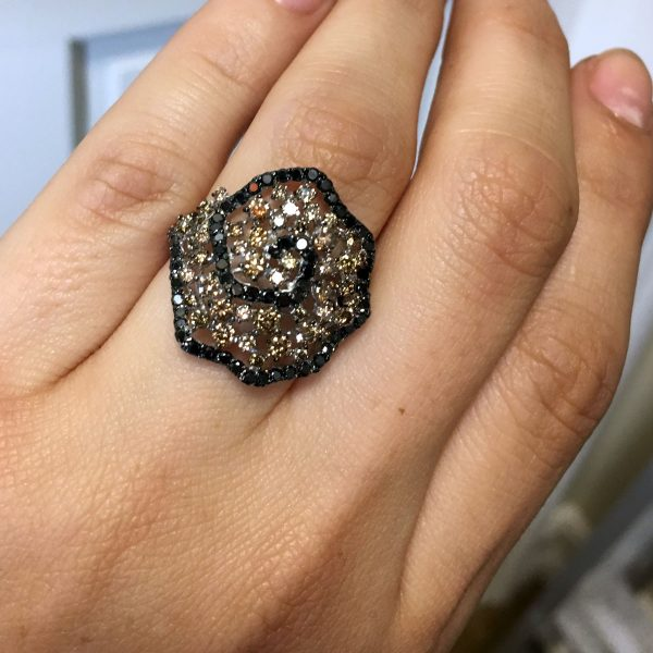 14k White Gold Brown and Black Diamond Cocktail Ring