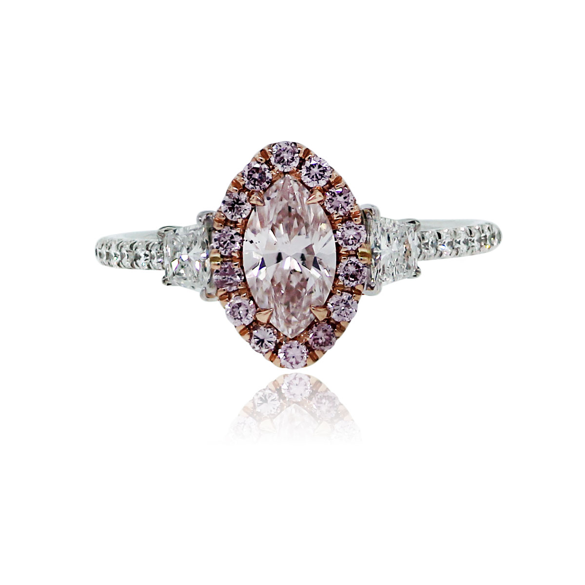 18k White Rose Gold Pink Marquise Diamond Engagement Ring