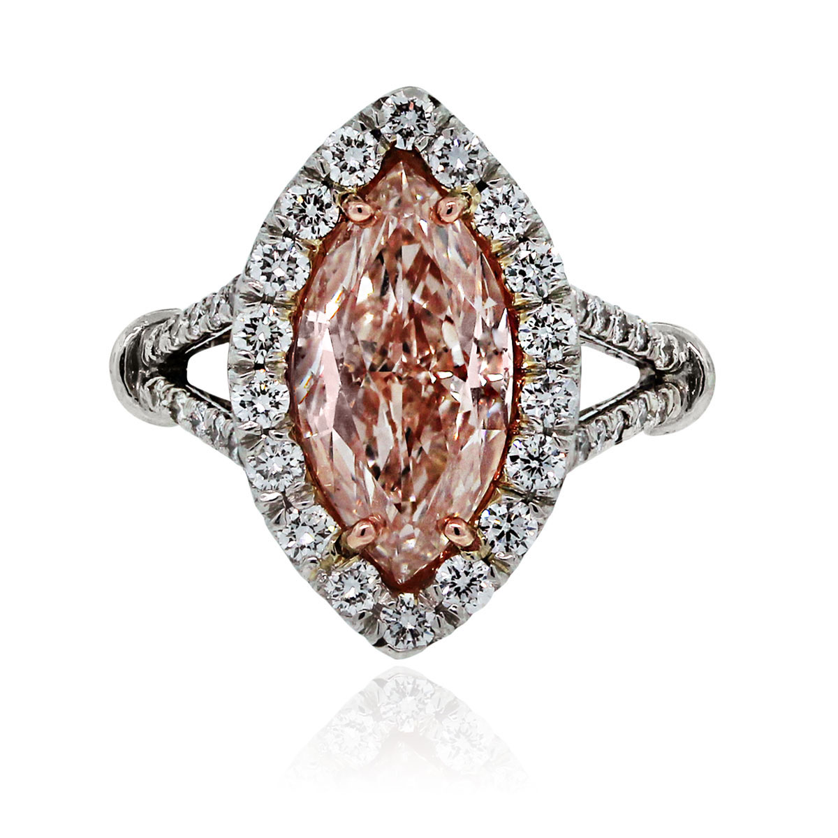 platinum gia certified 3ct natural fancy light pink marquise diamond engagement ring pink diamond wedding rings Florida Jewelry Luxury Watches Raymond Lee Jewelers