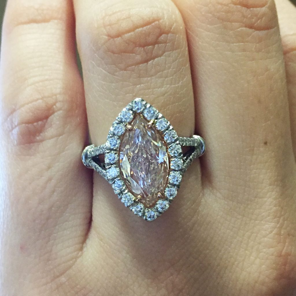 Platinum GIA Certified 3ct Natural Fancy Light Pink Marquise