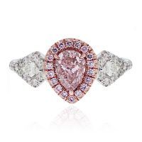 18k White/Rose Gold GIA 1.01ct Pink Pear Shape Diamond Engagement Ring