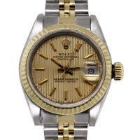 Rolex 69173 Two Tone Datejust Champagne Stick Dial Watch