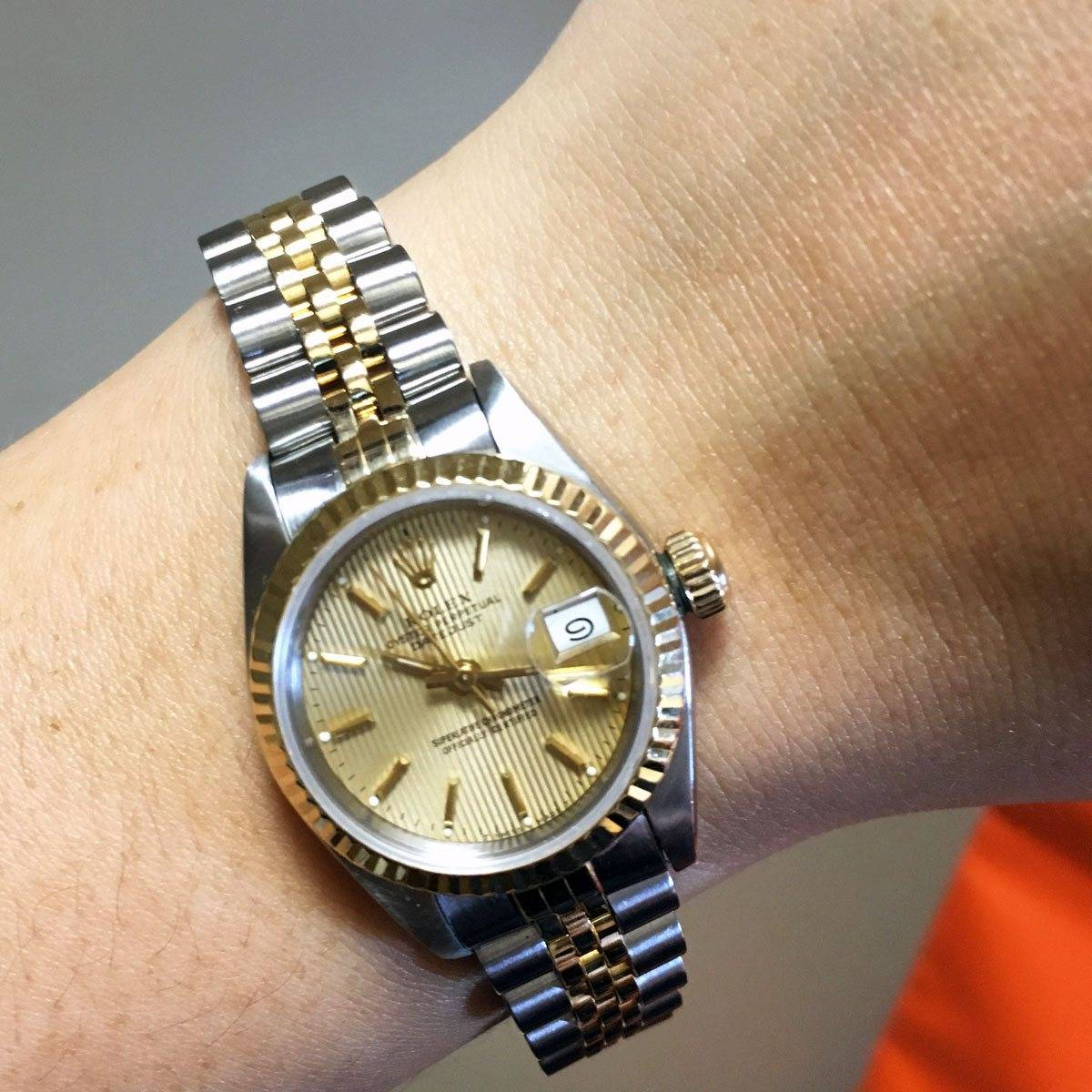 Rolex 69173 Two Tone Datejust Champagne Stick Dial
