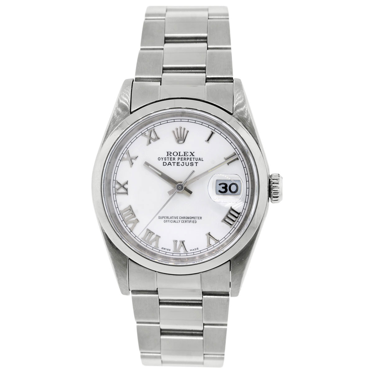 Rolex 16200 Datejust White Dial smooth bezel
