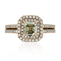 14k Rose Gold 1ct Brown Asscher Diamond Engagement Ring