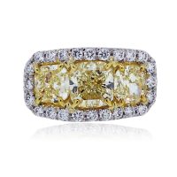 Platinum Triple Stone 2.94ct Fancy Yellow Cushion Cut Diamond Ring