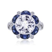 Platinum 4.10ct Round Brilliant Diamond Sapphire Halo Engagement Ring