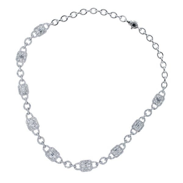 round and baguette diamond necklace