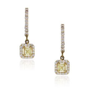 14k Yellow gold intense yellow diamond earrings