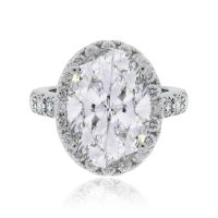 18k White Gold 9.05ct Oval Diamond Halo Engagement Ring