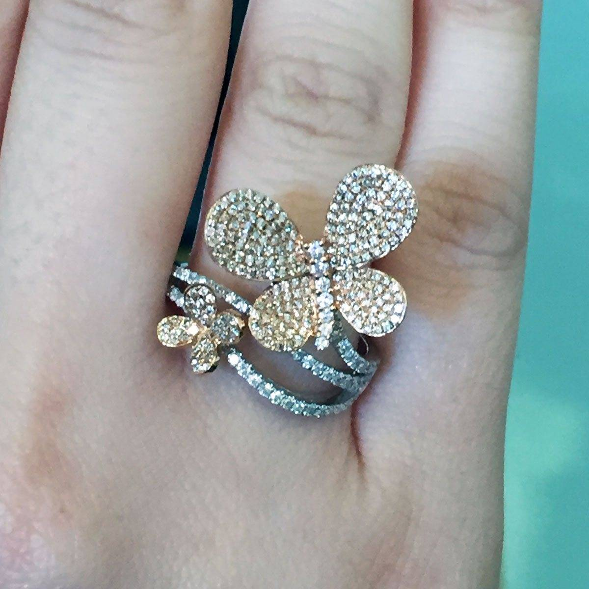Two tone butterfly diamond ring