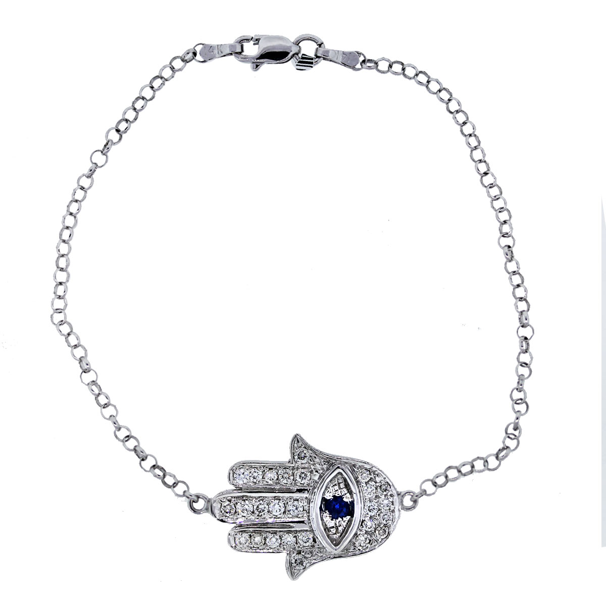 Hamsa bracelet with diamonds and sapphires