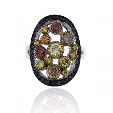 14k White Gold 0.55ctw Black & Natural Fancy Color Diamond Ring South Florida