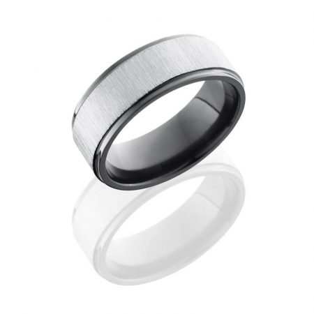 Lashbrook Zirconium 8mm Flat Band with Grooved Edges Boca Raton