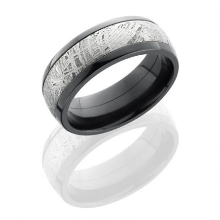 Lashbrook Zirconium 8mm Domed Band with 5mm Meteorite inlay Boca Raton