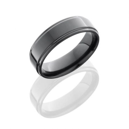 Lashbrook Zirconium 7mm Flat Band with Grooved Edges Boca Raton