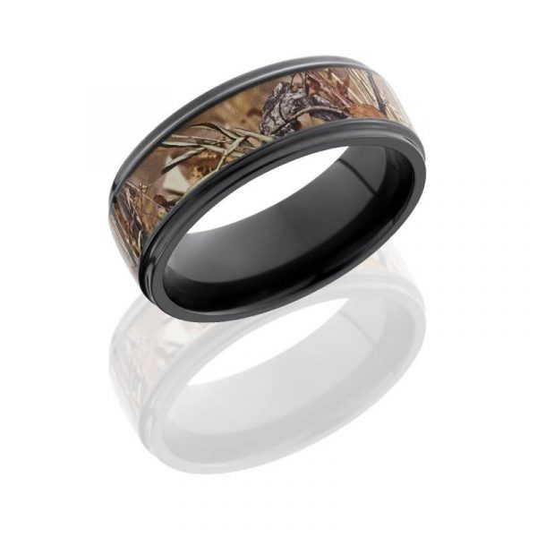 Lashbrook Zirconium 8mm Flat Band with Grooved Edges & 5mm King's Field Camo inlay Boca raton