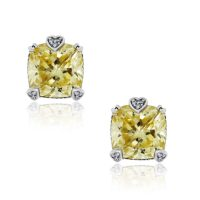 Judith Ripka Sterling Silver Canary Crystal Stud Earrings