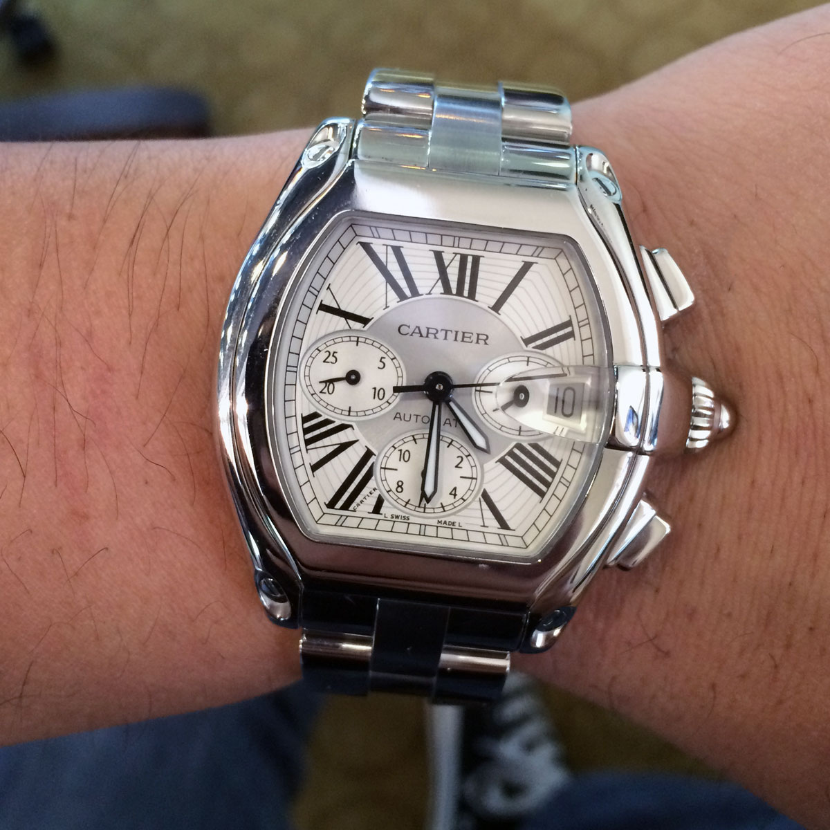 Cartier Roadster XL2618 Silver Chronograph Dial Watch