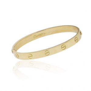 cartier love bracelet, cartier bracelet, love bracelet, love bracelet sizes, yellow gold, used cartier love bracelet