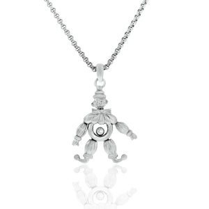 Chopard 18k White Gold Clown Charm Floating Diamond Necklace Boca Raton