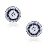 Platinum 5.90ctw Diamond and 1.40ctw Sapphire Earrings