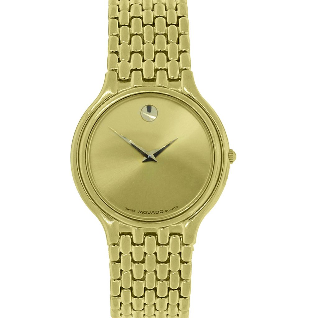 movado 87 e2 866 gold plated museum s
