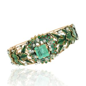 Rose Gold Emerald Bangle Boca Raton