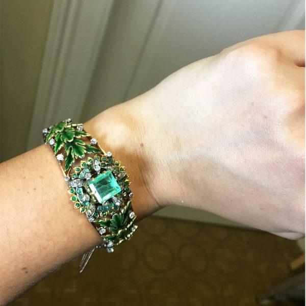 14k Rose Gold 3ct Emerald, Diamond Vintage Bangle Bracelet