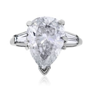 Platinum 5.07ct Pear Shape Diamond Engagement Ring