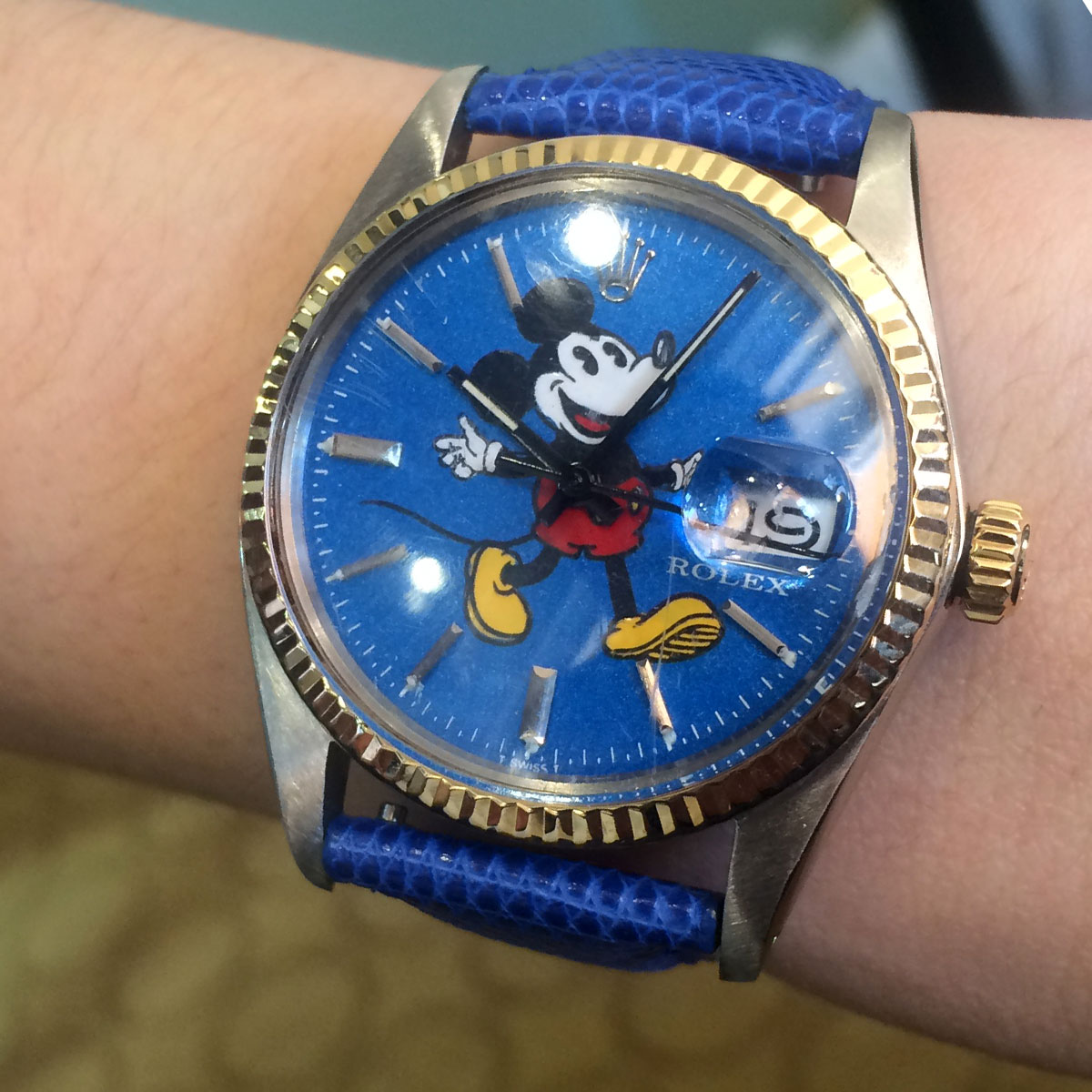 Rolex 16013 Datejust Mickey Mouse Dial Leather Strap Watch