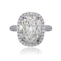 18k White Gold 10.09ct Antique Cushion Diamond Halo Engagement Ring