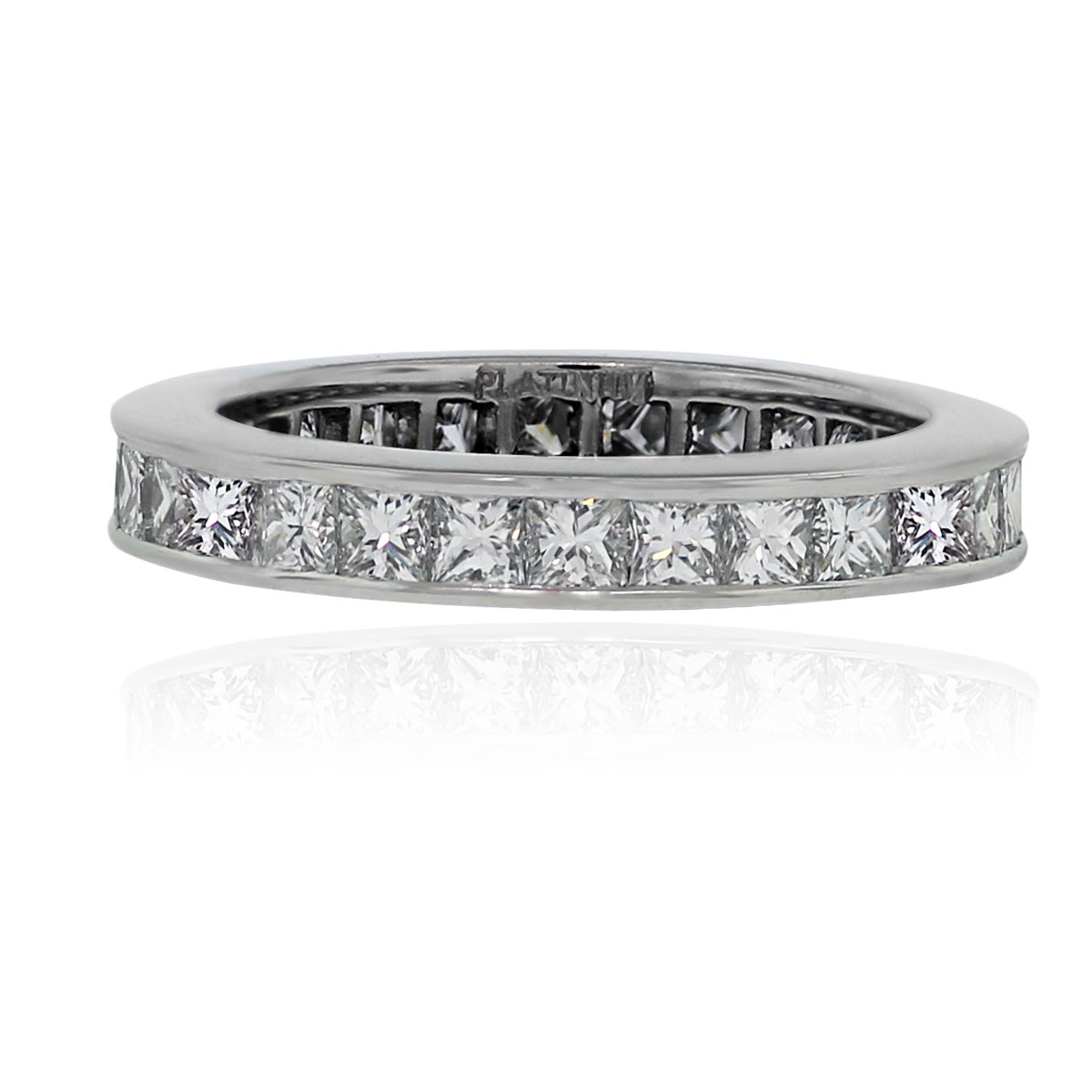 Platinum 230ctw princess cut diamond eternity wedding for Platinum princess cut wedding rings