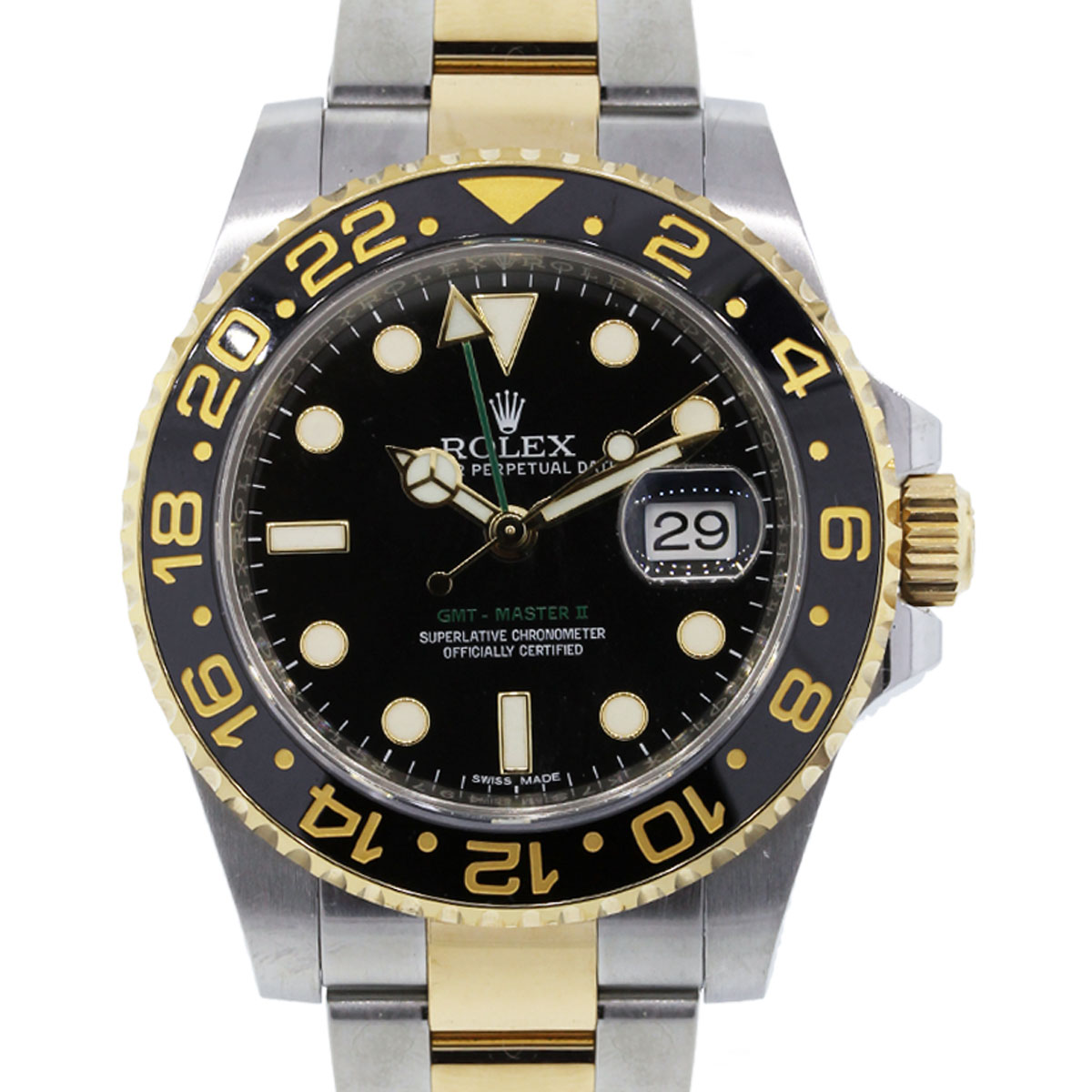 Rolex 116713 gmt master ii two tone black dial watch for Rolex gmt master