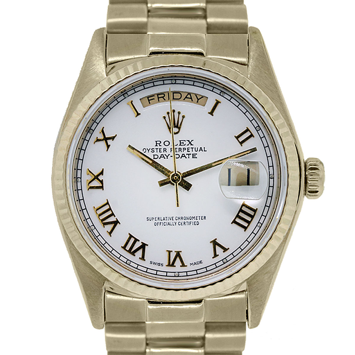 Rolex Day Date 18038 18k Gold White Dial Presidential Watch
