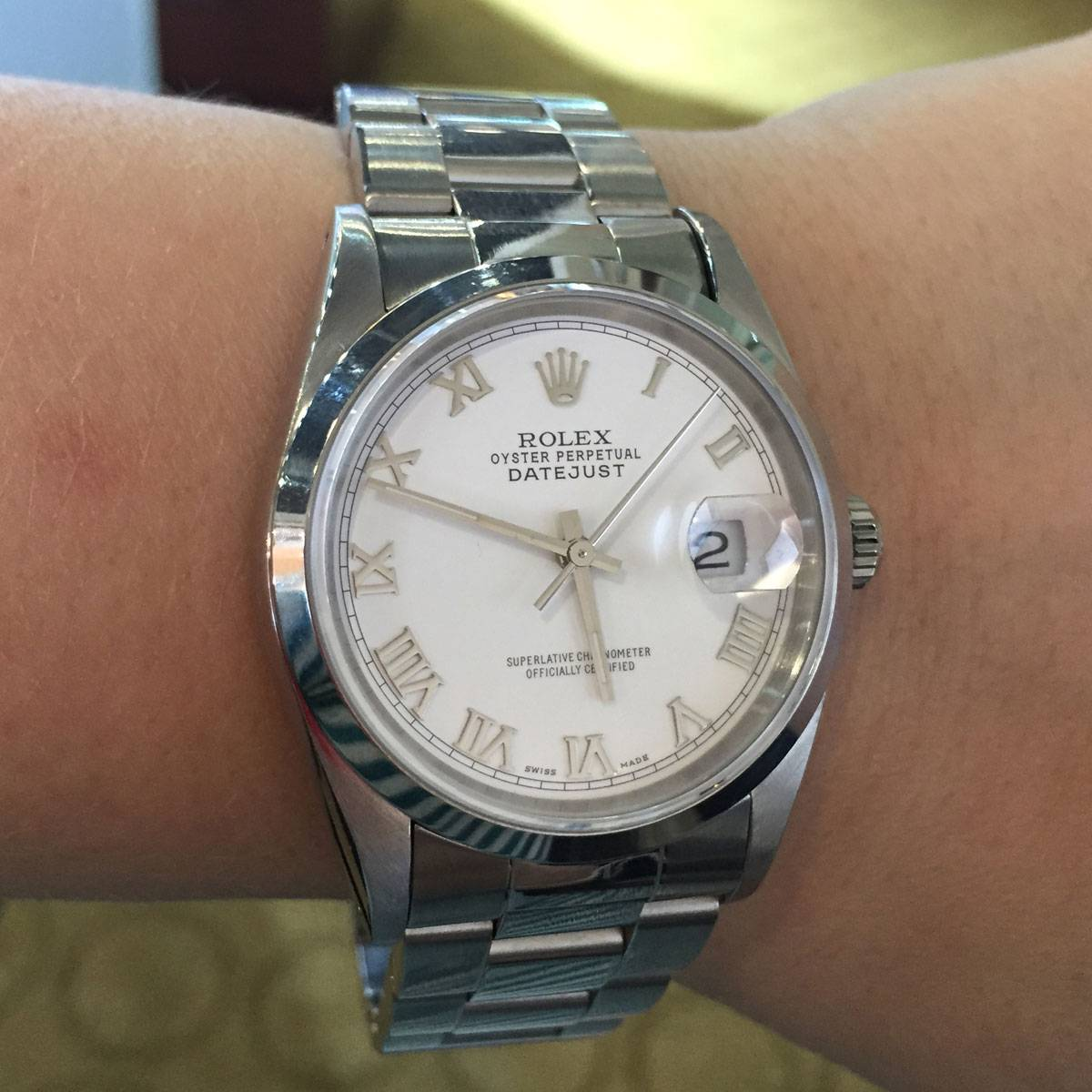 Rolex 16200 Datejust White Roman Dial Stainless Steel Watch