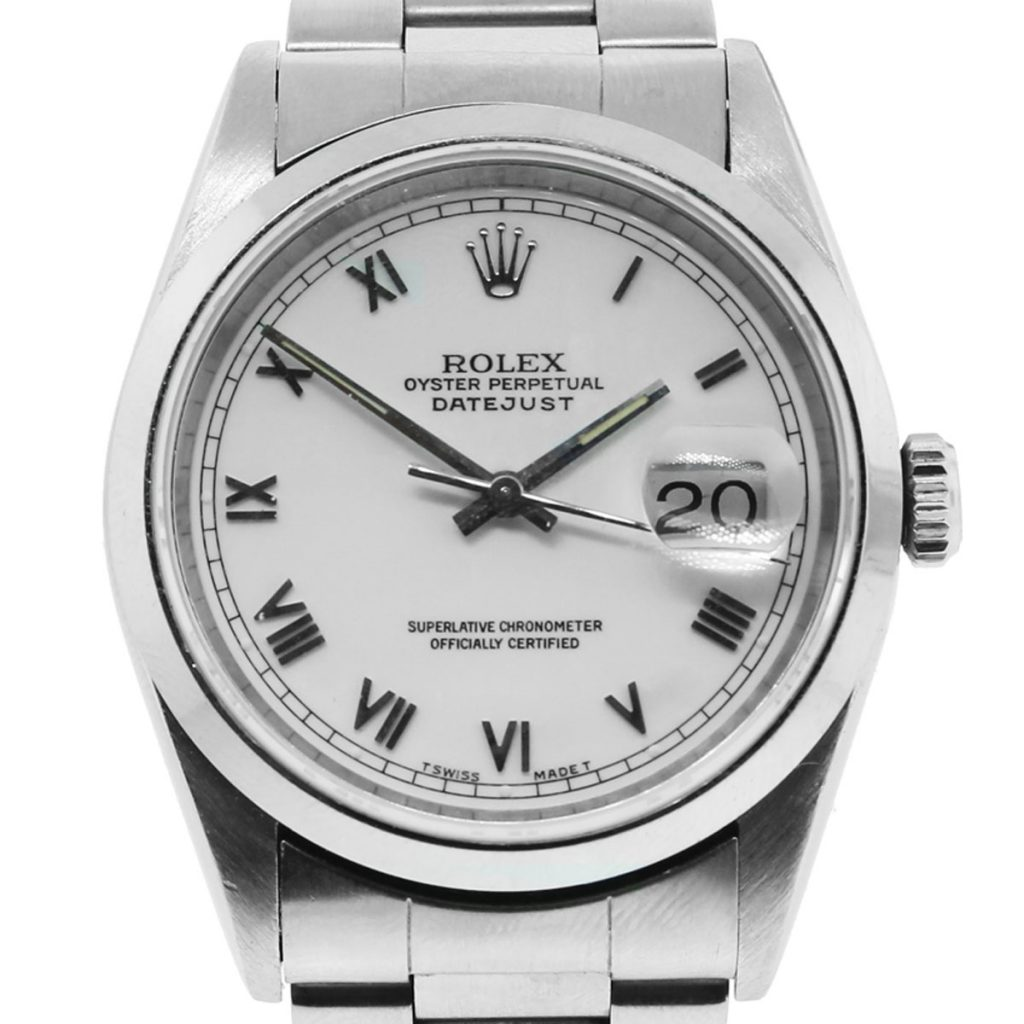 Rolex 16200 Datejust Watch White Roman Dial Stainless Steel Watch