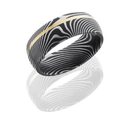 Damascus Steel 8mm Domed Band with Off-Center 14K Yellow Gold inlay Flattwist Pattern Boca Raton