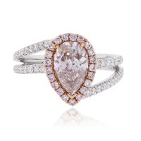 18k White & Rose Gold 1.32ct Natural Pink GIA Cert. Diamond Engagement Ring