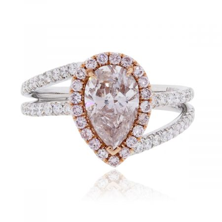 White/Rose Gold Diamond Engagement Ring