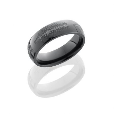 Lashbrook Zirconium 6mm Domed Band Laser Carved Soundwave Boca raton