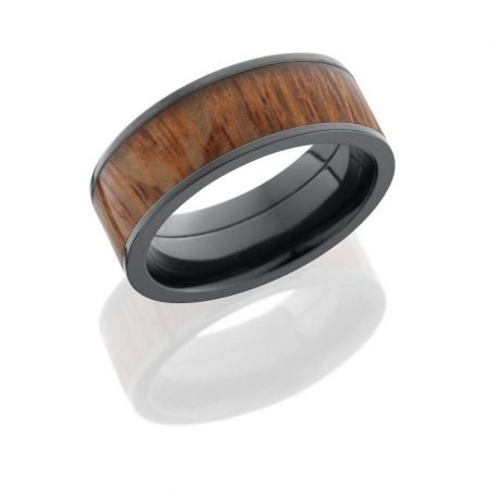 Lashbrook Zirconium 8mm Flat Band with 6mm Leopard Wood inlay Boca Raton
